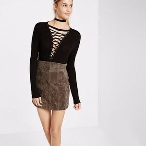 Express High Waisted 100% Suede Mini Skirt